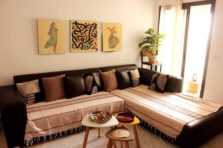 Espace séjour: lumineux, vivant et cosy/ Living room: a luminous, vivid and cosy space