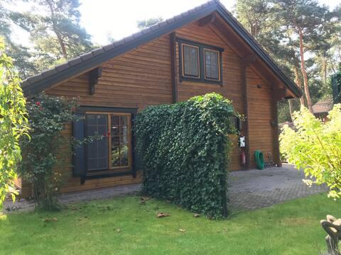 Houten chalet/bungalow in het bos, sauna, jacuzzi