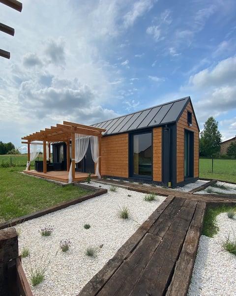 Domek Boho na lawendowym polu z sauną i banią