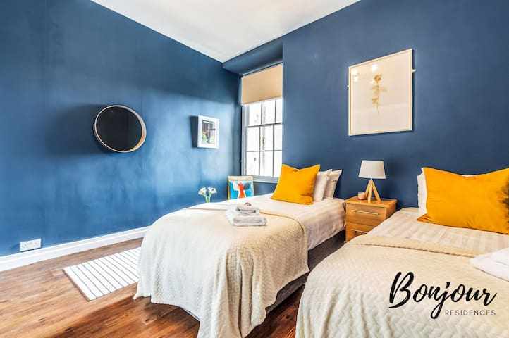 Stylish blue bedroom 2 - beds can be configured as 2x single beds or 1x super king bed