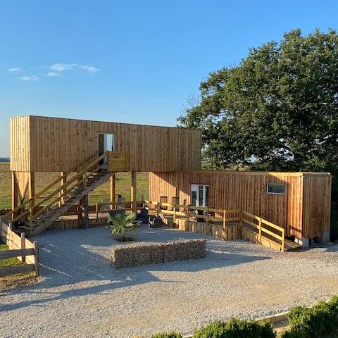 La hermosa casa de campo de escape O madera para dormir