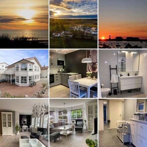 Stor leilighet med carport, terrasse, turområder.