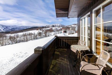 Toppleilighet med balkong og panoramautsikt