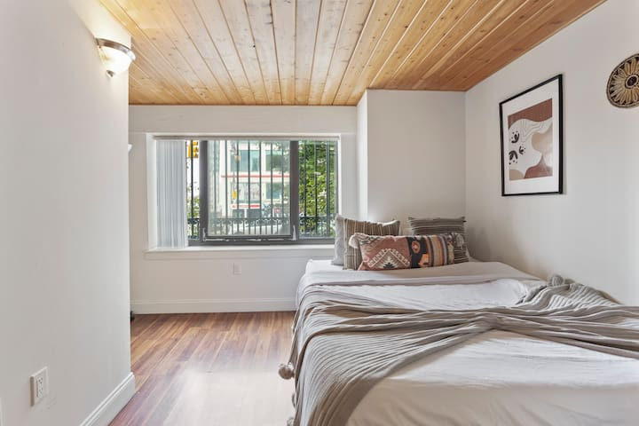 First floor open bedroom with Queen sized bed