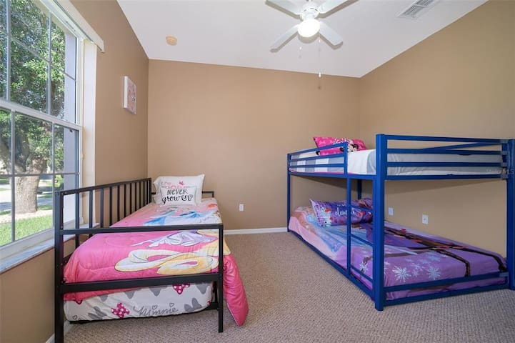 Bedroom 4 with Two Full Beds with One Twin Bed