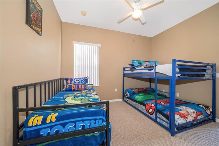 Bedroom 3 with Two Full Beds & One Twin Bed