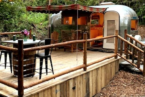 Fallingwater. A Vintage Airstream in the woods.
