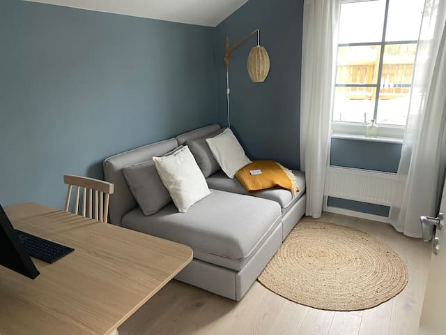 The second upstairs office/bedroom with a 160 cm sofa bed