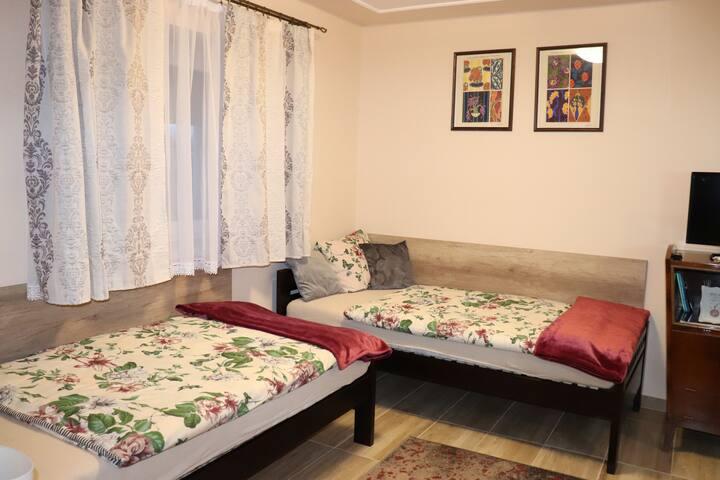Ebben az apartmanban négy külön ágy, felszerelt konyha, fürdőszoba várja a vendégeket.