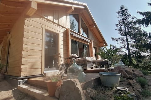 Cosy wooden house in modern style with a view