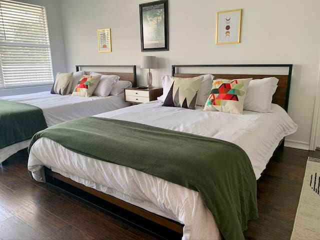 Upstairs double queen bedroom features smart tv, private door to balcony with beautiful hill country views, and attached game room! New Nectar mattresses & Egyptian cotton bedding. Ceiling fans in all bedrooms.