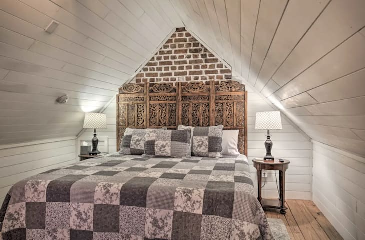 Master with king bed upstairs. Very cozy and quaint