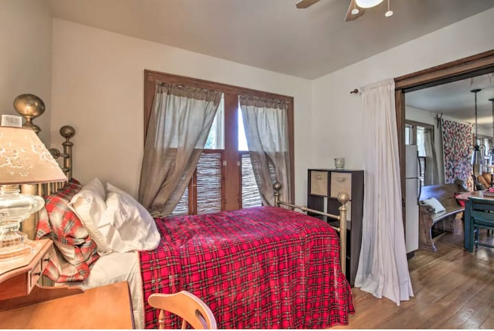 Third bedroom with twin bed and outside access.