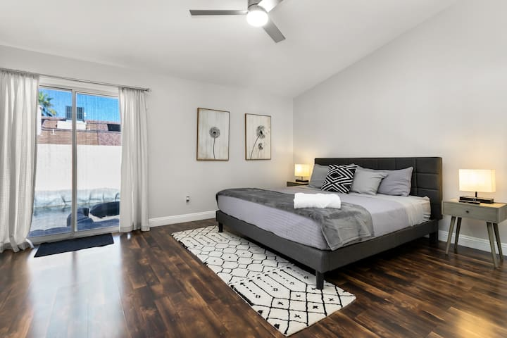 When you go on vacation, do you think about the decor or the size of the master bedroom? Do you want to be able to access the pool outside easily? You can get all of that and more right here. This is a hotel-quality master bedroom for you.