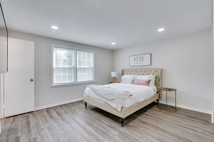 The master bedroom has a queen-size overstuffed mattress for a restful night's sleep.