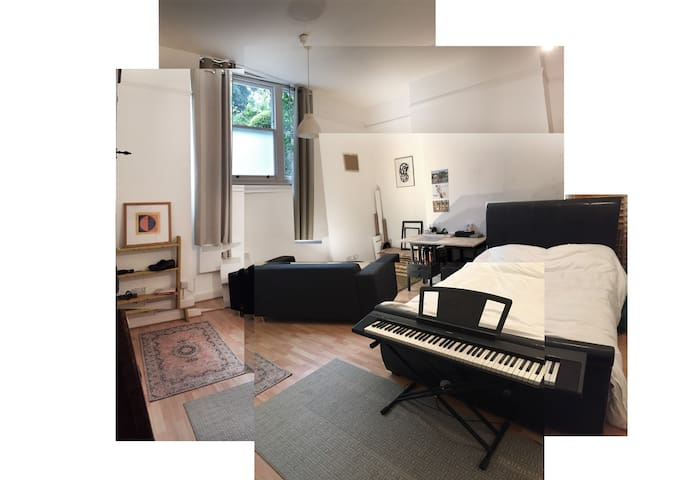 Studio/bedroom photo 1: the space has a 3.5m-high ceiling. The room suffers from low light and is. musty. Please confirm that you are aware of the mustiness. The upstairs neighbours are elderly and so there is a no noise rule at the apartment.