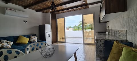 Moderno depa con terraza y vista extraordinaria