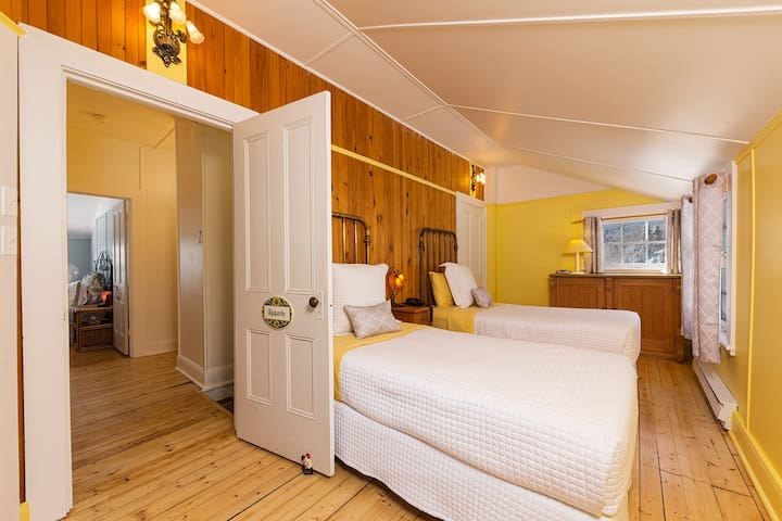 La chambre JAUNE, deux lits simple, Salle de bain complète. Vue forêt