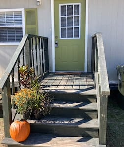 Side porch entrance to the cottage (lockbox is located on this door).