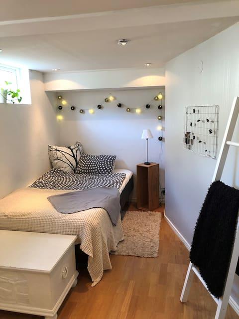 Lägenhet med pentry i källarplan med egen ingång