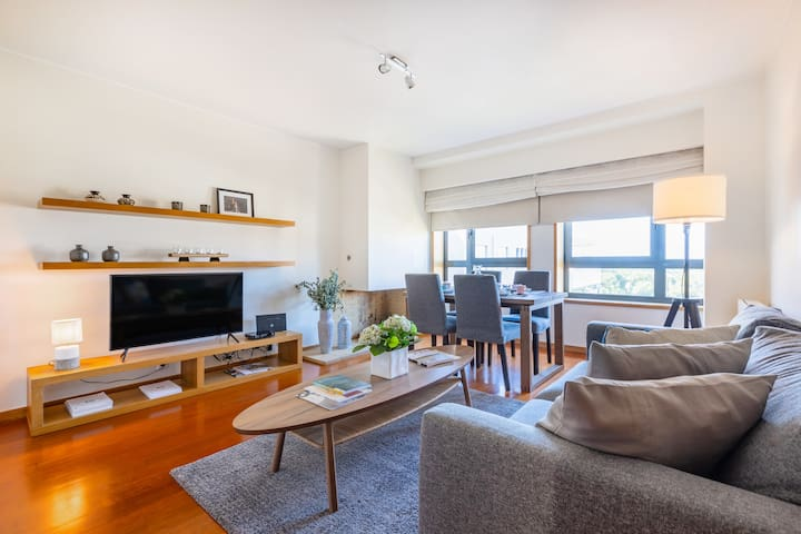 Living Room with Sofa-Bed and Flat-Screen TV