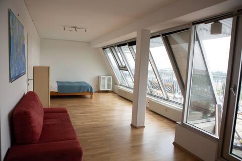 estudio luminoso con terraza y vistas fantásticas
