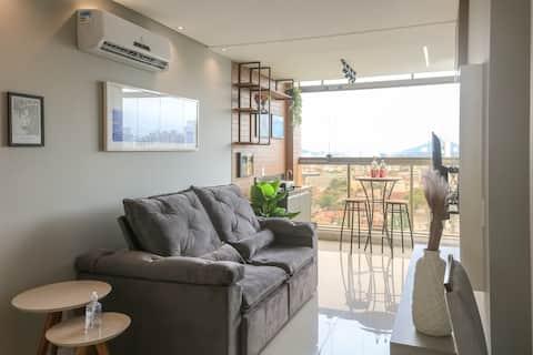 Apartamento novo e lazer completo, 1 quadra do mar