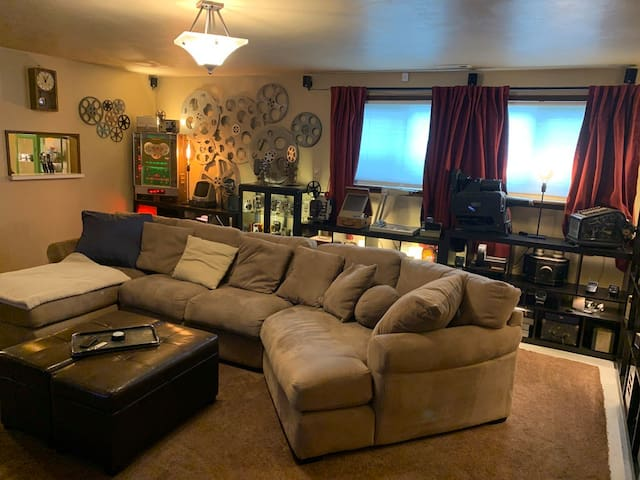 Living room with large sectional couch