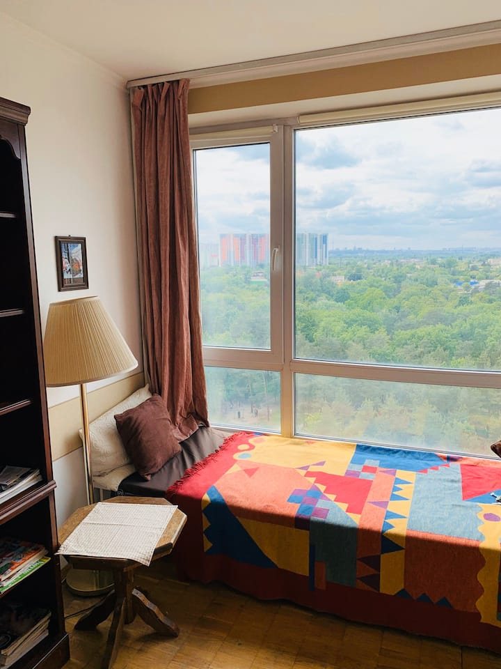 comfortable,with a view to the park