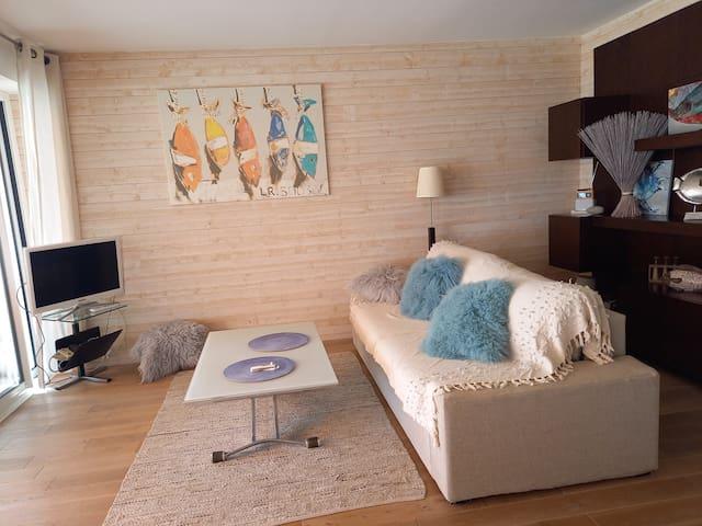 Salon cosy face mer équipé TV + wifi
