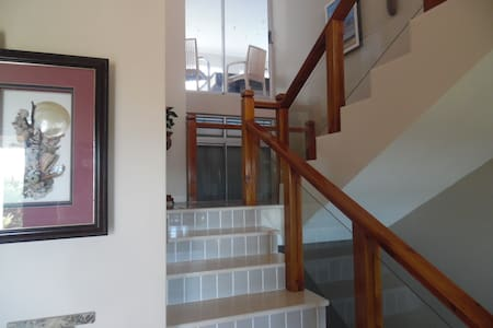 Staircase to top floor, snooker table room can be viewed