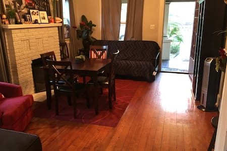 Flat floors with only bumps between carpet and flooring (carpet only covering floor in one bedroom)