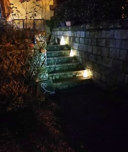 First flight of stairs.