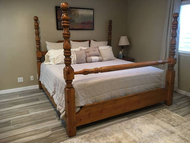 Solid oak king bed in the new master suite addition.
