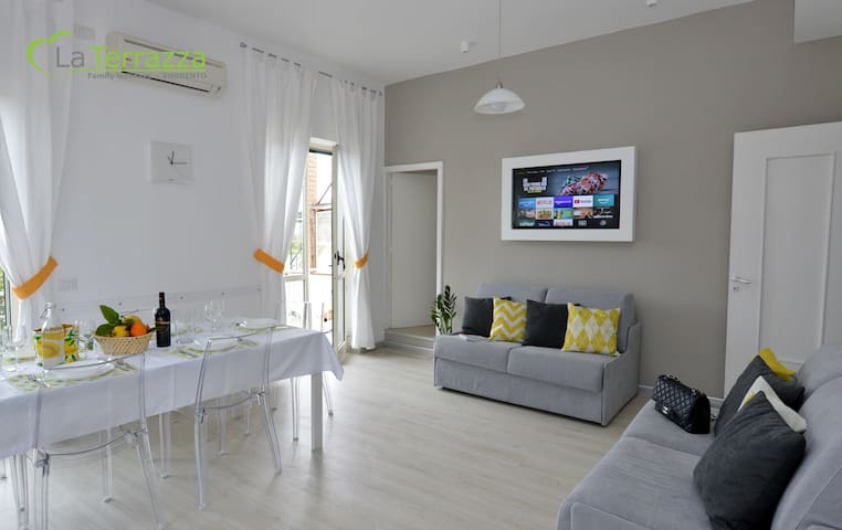 - Renewed Kitchen / Livingroom -  Equipped Kitchen, Induction cooker, Fridge, Freezer, Oven, Microwave, Blender, Toaster, Pots, Cutlery, Dishes, Dish washer, Ice maker, Air Conditioned, Coffee makers, Balcony, Smart TVsat, 2 Sofa beds, WiFi broadband