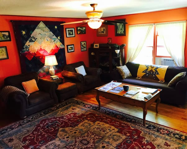 Cozy Living Area with overstuffed chairs, sofa, books, games, artifacts, SmartTV/Firestick, work desk and gas log fireplace