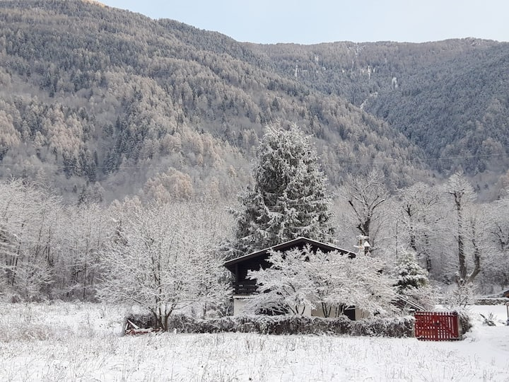 Chalet studio apartment with garden in Valtellina