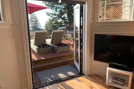 The french doors provide a wide entrance to the studio from the deck, but take note that there are two steps down from the deck level.