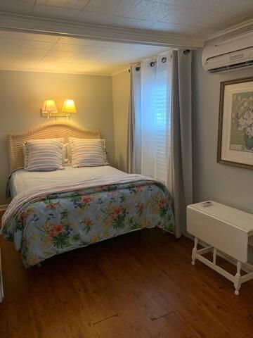 Queen Bed  - bedroom has HVAC unit for your comfort.  Quiet and efficient
