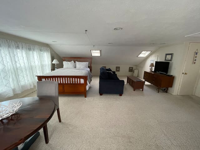 In-law suite/apt above the garage. Dining table to the left, queen size bed , pull out queen sized sofa, bathroom far right