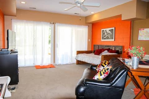 Basement living space w/bedroom