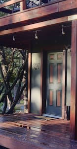 """36"""" doorway at the entrance. There are 3 stairs to the deck or one high step up the deck itself."""