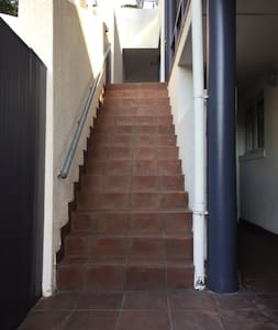 Stairs leading up to apartment