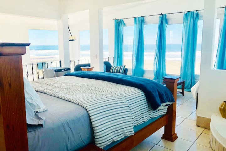 3rd floor bedroom includes 2 double beds, a double sofa bed, and 3 single convertible sofa beds.  Along with amazing 180 degree views of the beach right out front.