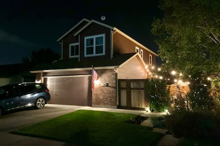 Your view from the street as you pull up to the house.  The front lights are always on at night.  The garden lights turn off at approximately 11PM.