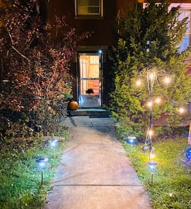We have Security Pathway Lights for our Driveway Main door and an Motion Sensor Light to light the whole entrance as well.