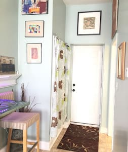 "This leads to the courtyard and is a 36"" door. Rug can be lifted for easier mobility. All the floors are easy to maneuver. This is the narrowest part of the space. Everything else is VERY WIDE!"