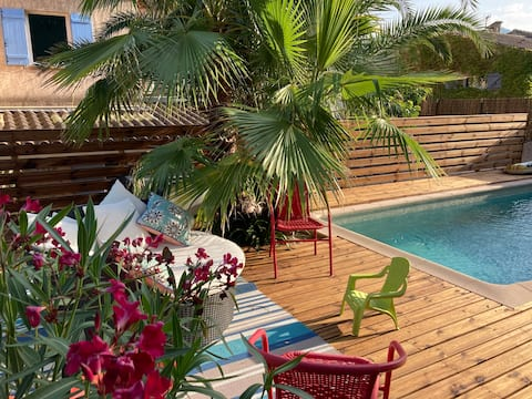 Villa piscine chauffée, vue panoramique