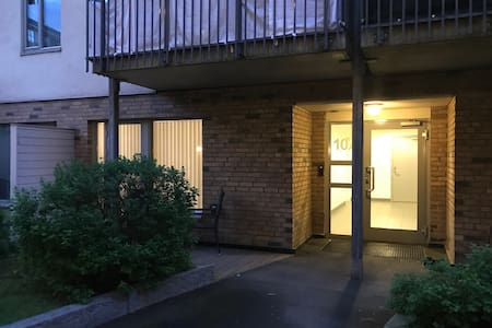The entrance door to the flat is to the left when having passed the glass door with the text 10A