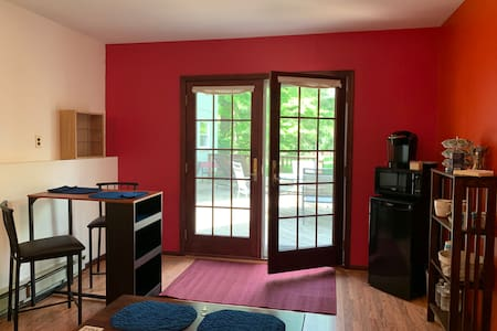 Double French doors fully open to a significant width for entry & exit